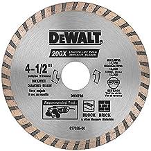 DEWALT DW4725 High Performance 4-1/2-Inch Dry Cutting Continuous Rim Diamond Saw Blade with 7/8-Inch Arbor for Masonry