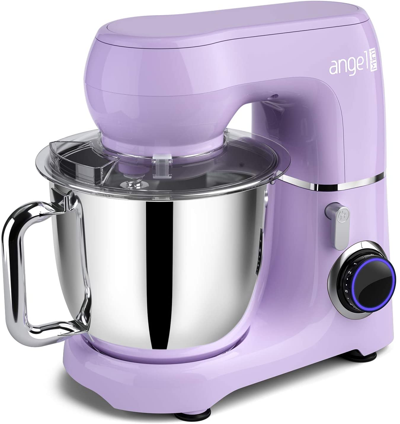 Mini angel Stand Mixer,10-Speed 5.5QT Kitchen Electric Mixer with DIY Color Stickers,Tilt-Head Food Mixer with Dough Hook, Wire Whisk, Flat Beater, Stainless Steel Bowl - Lavender