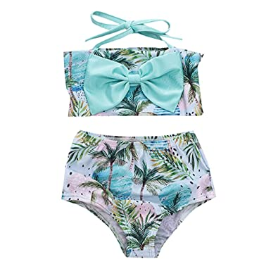 589f5637e6 Amazon.com: Kids Baby Girls Boho Leaf Print Halter Bowknot Swimwear ...