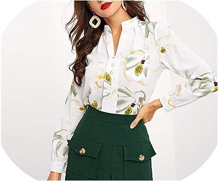 Blusa de manga larga con estampado de flores para mujer ...