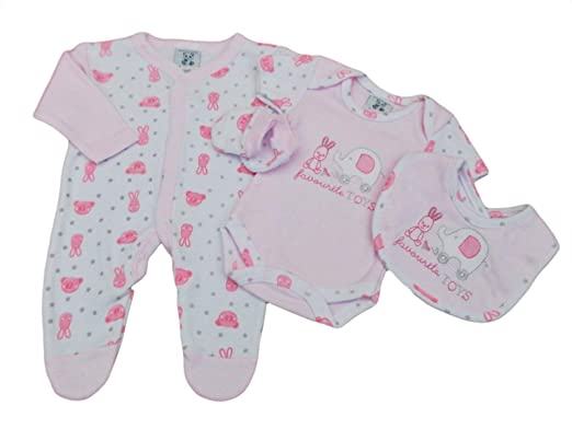 d4163631749c Tags Tiny Baby Girls Premature 4 Piece Bunny Elephant Layette Set (5-8lbs):  Amazon.co.uk: Clothing