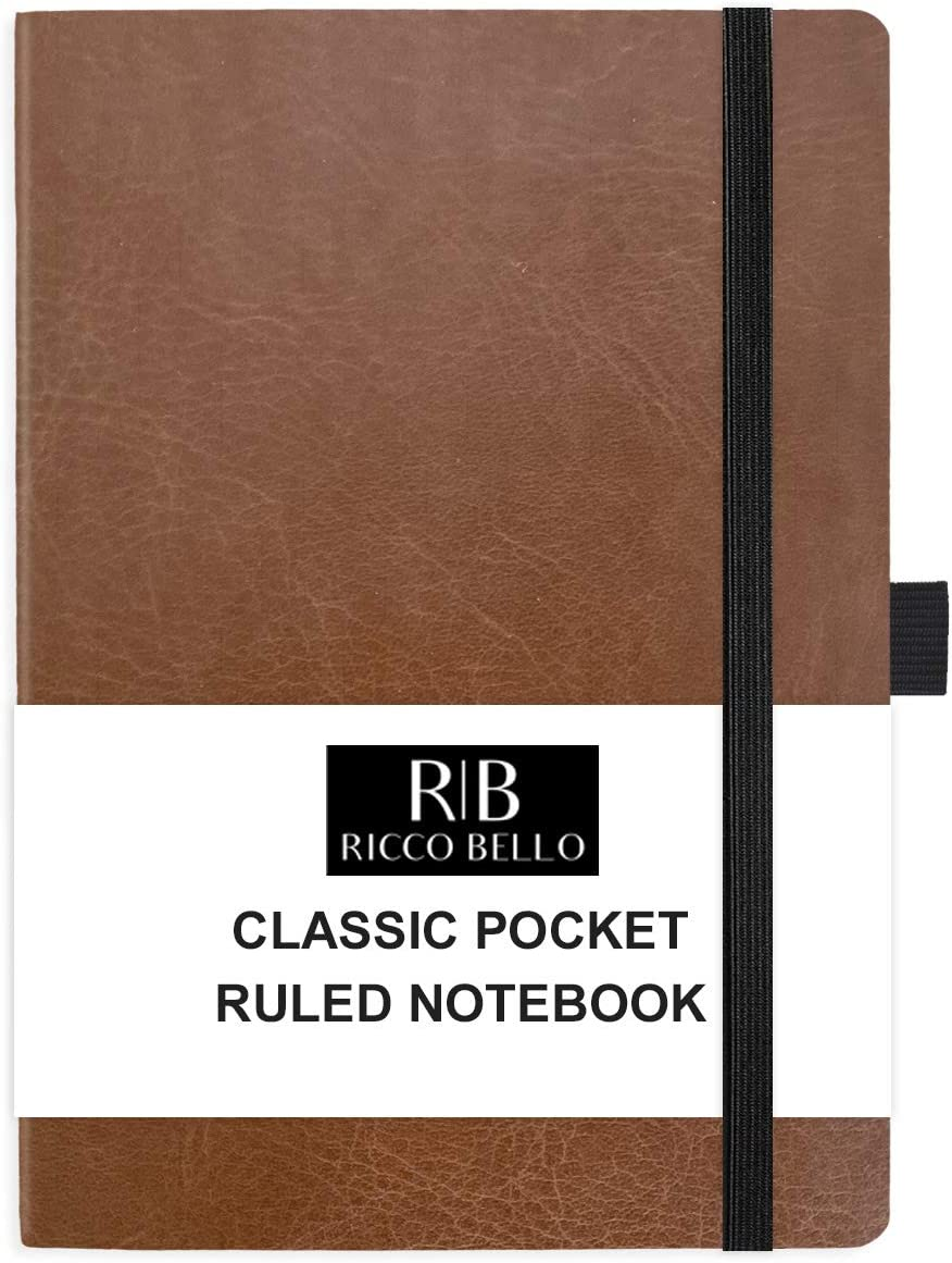 RICCO BELLO Small Pocket College Ruled Hardcover Journal Notebook, Vegan Leather Cover, Pen Loop, Bookmark, Storage Pocket, 192 Pages, 4.25 x 6 Inches (Brown)