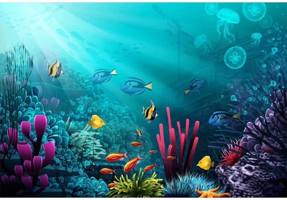 Wonderful Undersea World Vinyl Photography Backdrop 10x7ft Underwater Sea View Background Tropical Fishes Colorful Coral Reef Jellyfish Faint Vessel Light Beam Marine Theme Photo Diving