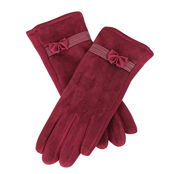 Yvelands 1Pair Winter Warm Screen Riding condujo los Guantes para Las Mujeres (Rojo,tamaño