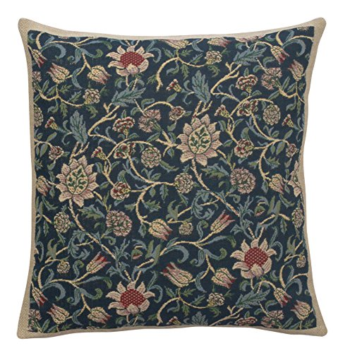 (Home Furnishings, Fleurs de Morris Belgian Tapestry Throw Pillow Case Blue, Hand Finished Cushion Cover, 16 by 16 Inch)