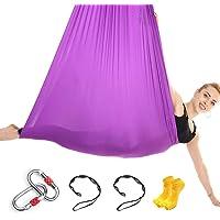 Himifuture 5 m lang, 3 m breed, Yoga Hangmat Flying Hangmat Swing Aerial Yoga Hangmat Zijde Stof met Karabijnhaak…