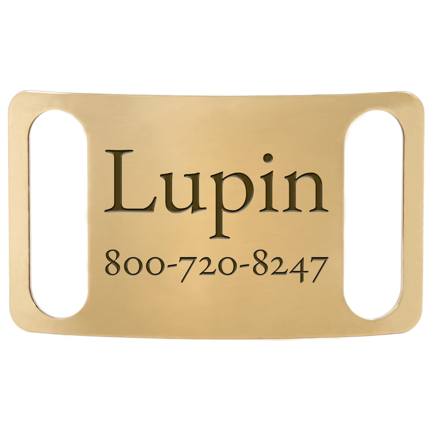 Brass Custom Slide-On Dog ID Tags - Fits 1 Inch Wide Collar - Engraving Guaranteed for Life