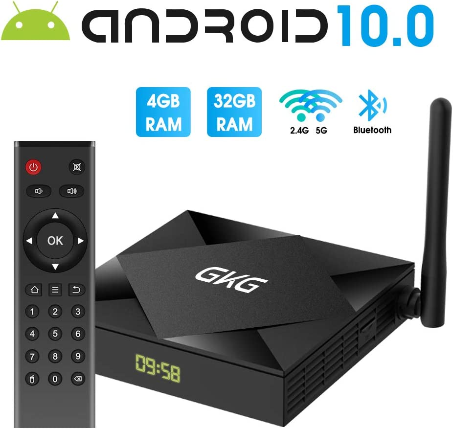 TV Box Android 10.0, GKG Android TV Box 4GB RAM 32GB ROM Allwinner H616 Quad-core Dual-WiFi 2.4G + 5G Support BT 4.1 USB 3.0 Ethernet 4K 3D Smart TV Box [2020 Newest]