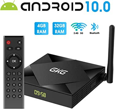 TV Box Android 10.0, GKG Android TV Box 4GB RAM 32GB ROM Allwinner H616 Quad-core Dual-WiFi 2.4G + 5G Soporte BT 4.1 USB 3.0 Ethernet 4K 3D Smart TV Box [2020 Versión]: