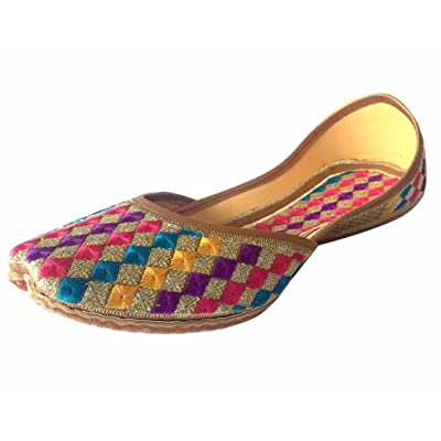 Step n Style Women's Phulkari Punjabi Jutti Khussa Shoes Ethnic Shoes Rajasthani Mojari | Loafers & Slip-Ons