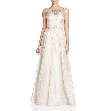 Aidan Mattox Womens Metallic Beaded Formal Dress Beige 2 At Amazon
