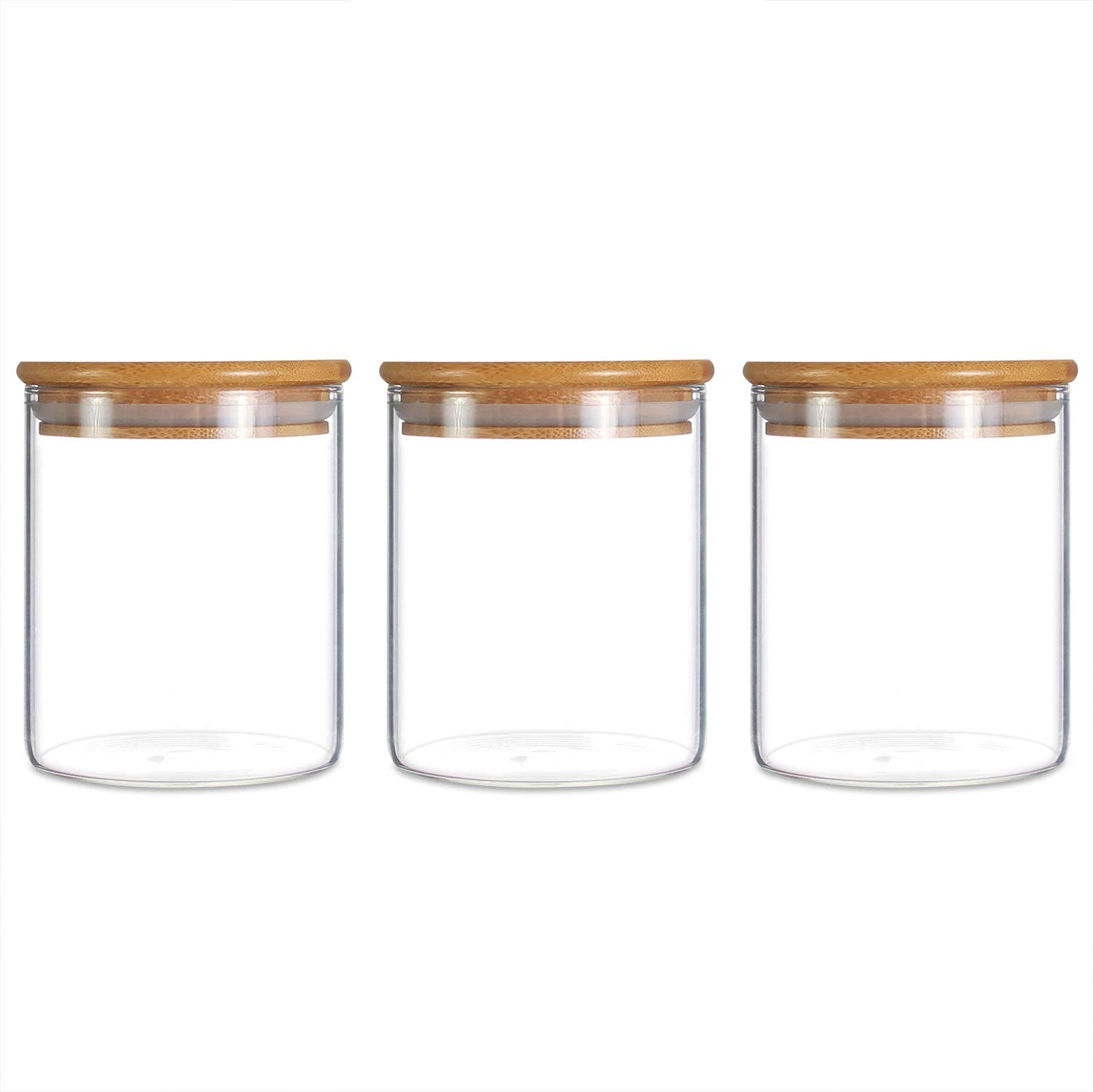 Glass Storage Jar,Kitchen Food Containers with Bamboo Lid 500ML (3450ML)