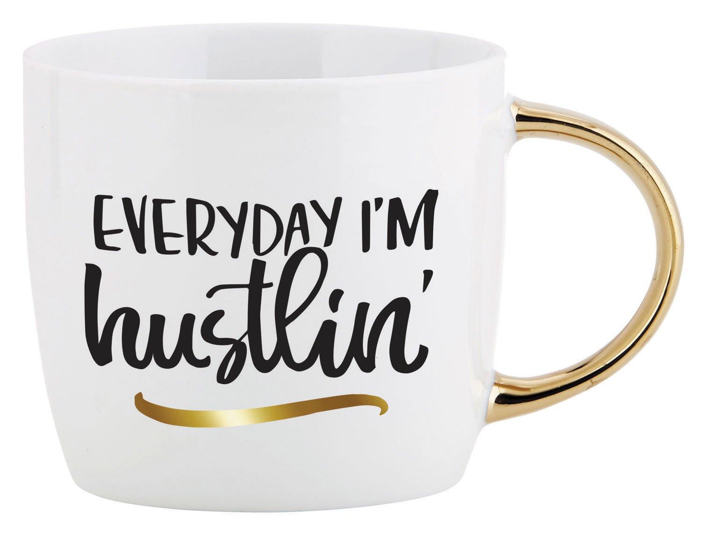 Everyday I'm Hustlin' Script 14 Ounce Ceramic Coffee Mug with Goldtone Handle