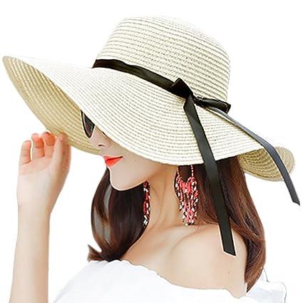 HugeDE Women Ladies Floppy Foldable Wide Brim Summer Sun Beach Straw Hat  Packable Sun Hats UV 50c9b23b1ec1