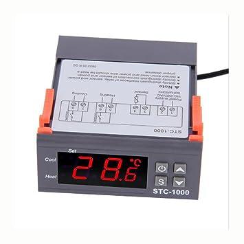WKELECTRONDE-Dos relé Salida LED incubadora de termostato Controlador de Temperatura Digital STC-1000