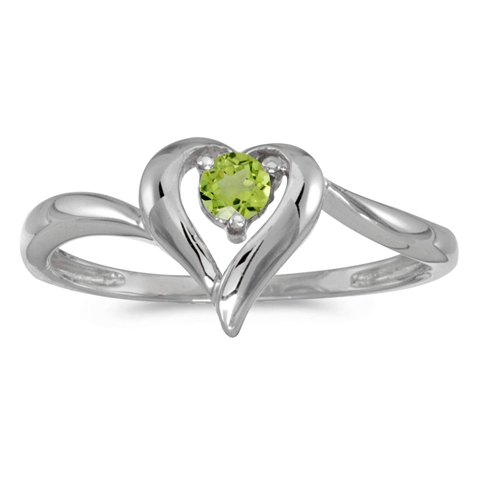 FB Jewels 10k White Gold Genuine Green Birthstone Solitaire Round Peridot Heart Wedding Engagement Statement Ring - Size 7 (1/4 Cttw.)