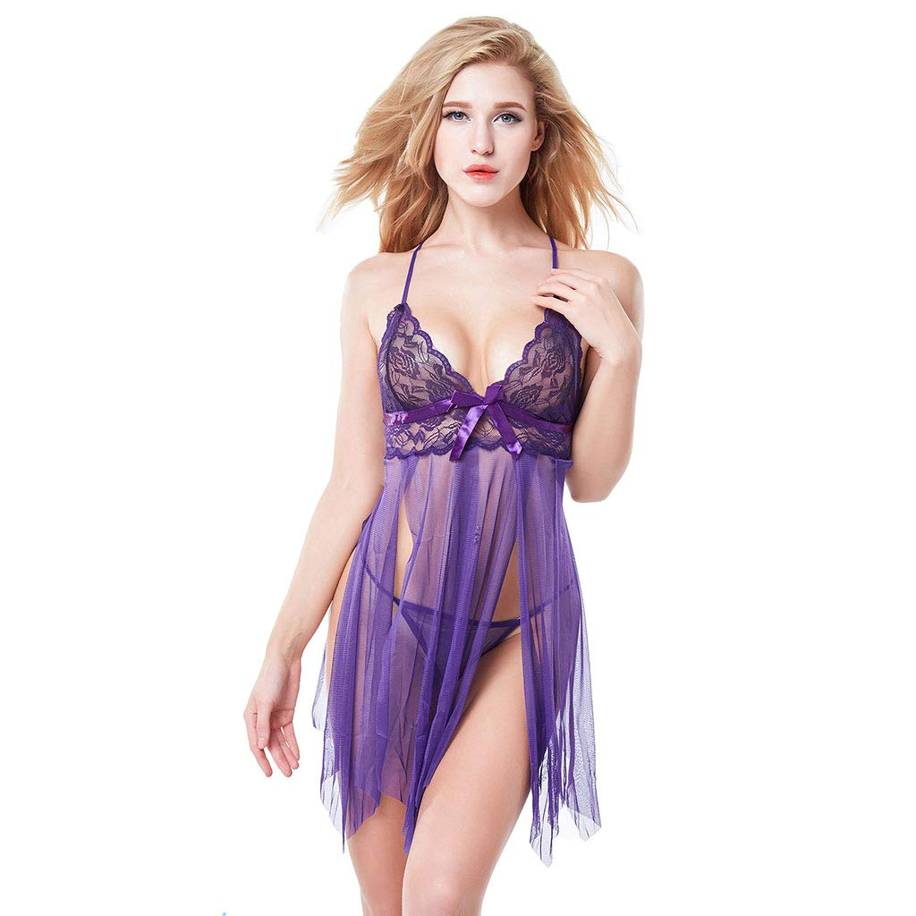 Women\'s Sexy Lingerie Lace Babydoll G-String Set Sleepwear V Neck Strap Chemise