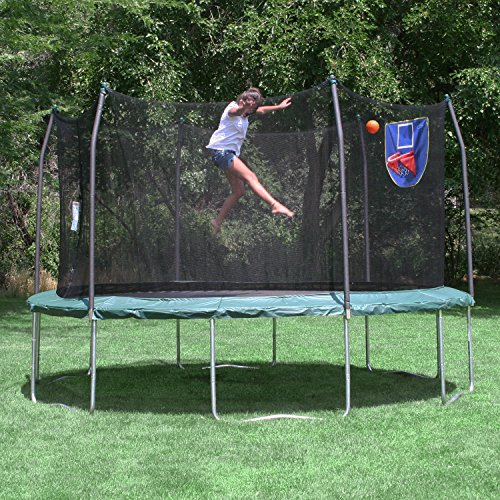 skywalker trampolines jump n 39 dunk trampoline with safety enclosure and new ebay. Black Bedroom Furniture Sets. Home Design Ideas