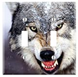 Dual Toggle Wall Switch Cover Plate Decor Wallplate - Wolf