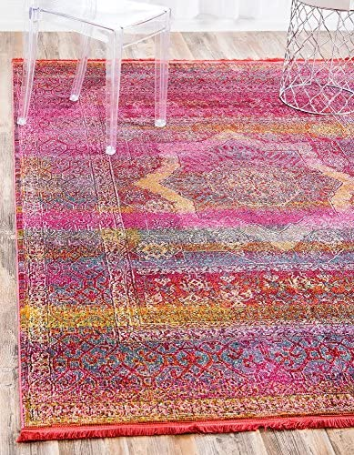 Unique Loom Baracoa Collection Bright Tones Vintage Traditional Pink Area Rug 2 2 x 3 0