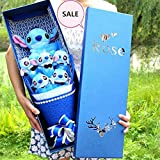 Handmade Lovely Cartoon Stitch Plush Toys Bouquet with Fake Flowers Creative Gift For Valentine's Day Wedding Party Decora (Blue 2)