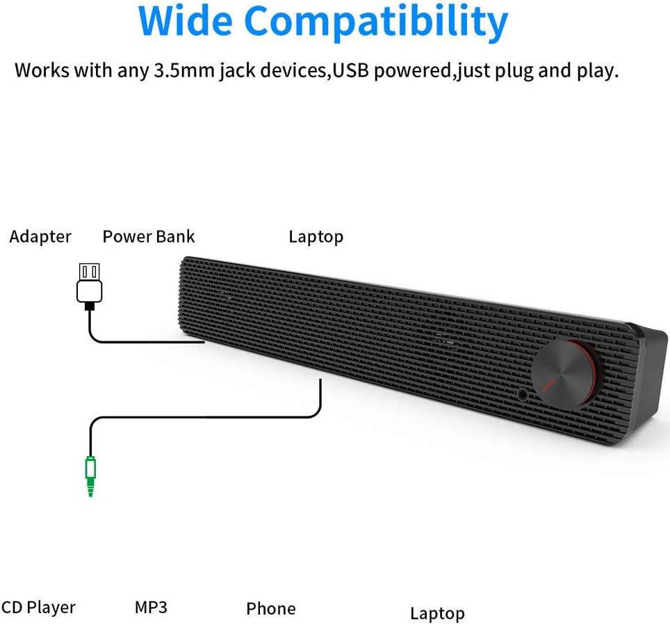 Altavoz de la computadora 10W 3.5mm ataron con Barra de Sonido USB Powered Altavoces para el tel/éfono m/óvil del Ordenador port/átil FANGSHUAI Barra de Sonido