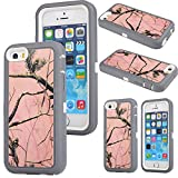 iPhone 5c Case,Kecko® Defender Tough Armor Heavy Duty Hard Dual Layer Weather and Water Resistant Tree Forest Camo Hybrid Case with Camouflage Woods Design for iphone 5C (pink tree)
