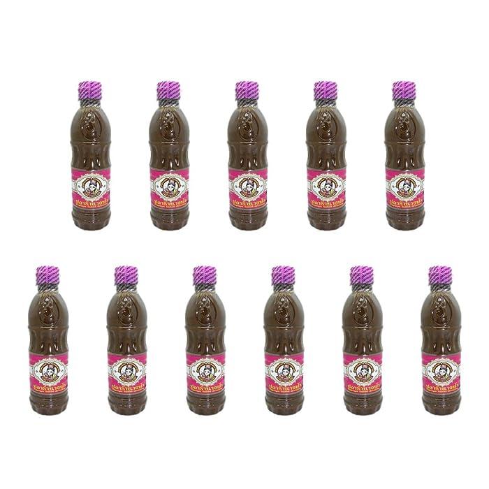 11 Bottles Nangfah Plara Fermented Pickled Fish Sauce Thai Food Cooking 400 g. Pink Cap Wholesale from Thailand