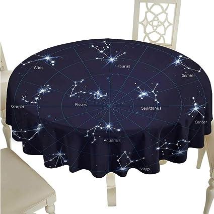 Amazon com: Round Tablecloth Plastic Constellation,Sky Star