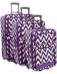 Ever Moda Chevron 3 Piece Luggage Set