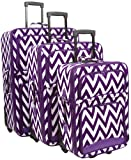 Ever Moda Chevron 3 Piece Luggage Set (Purple)