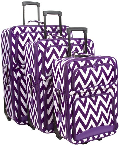 Ever Moda Chevron 3 Piece Luggage Set (Purple) by Ever Moda