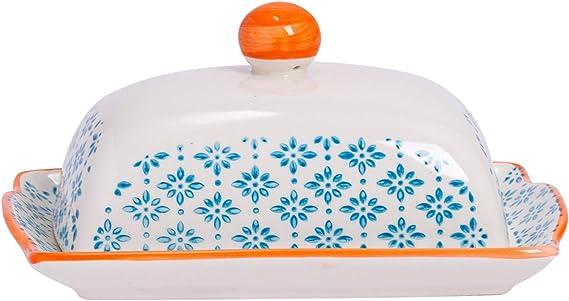 Blue Flower Patterned Kitchen Butter Dish With Lid Porcelain Crockery