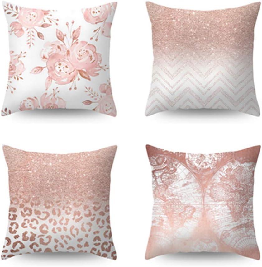 Reinefleur 4pcs Taie doreiller Canap/é Maison Voiture Housses de Coussin de D/écoration en Coton de Lin 45 x 45 cm Rose
