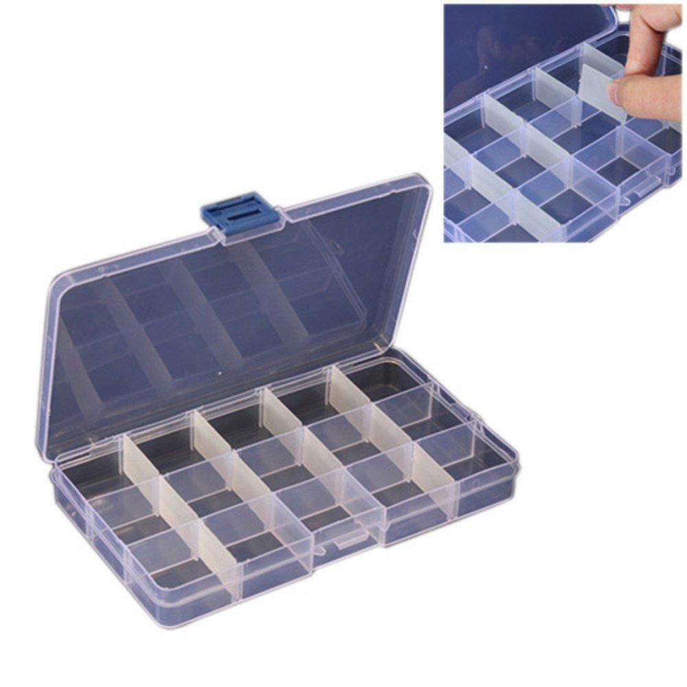 Romote Compact regolabile 15 Vano plastica Storage Box Jewel Case strumento Container