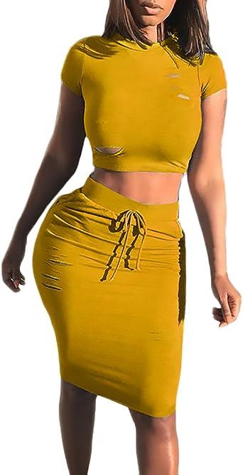 Conjuntos Mujer Falda Y Top Dos Piezas Vintage Moda Camisetas ...