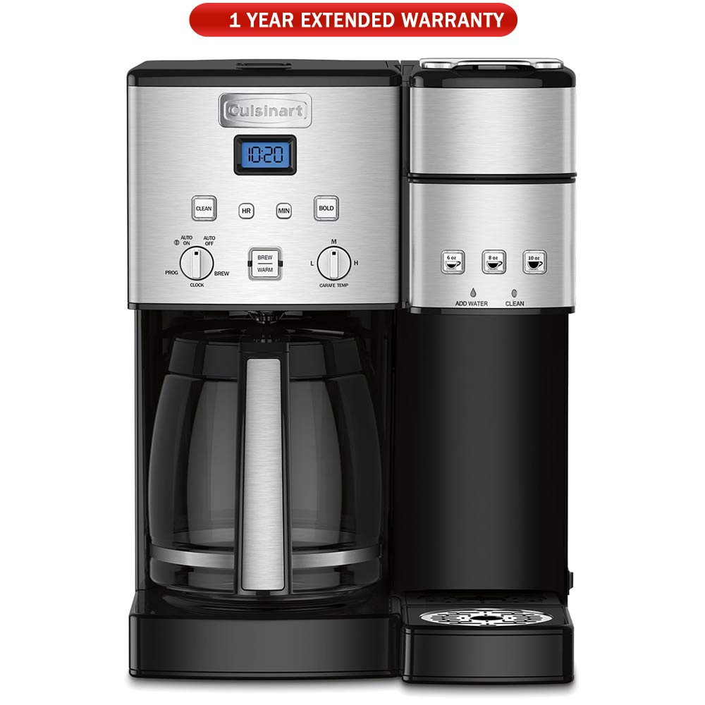 Cuisinart SS-15 12-Cup Coffee Maker and Single-Serve Brewer, Stainless, Refurbished with Extended Warranty
