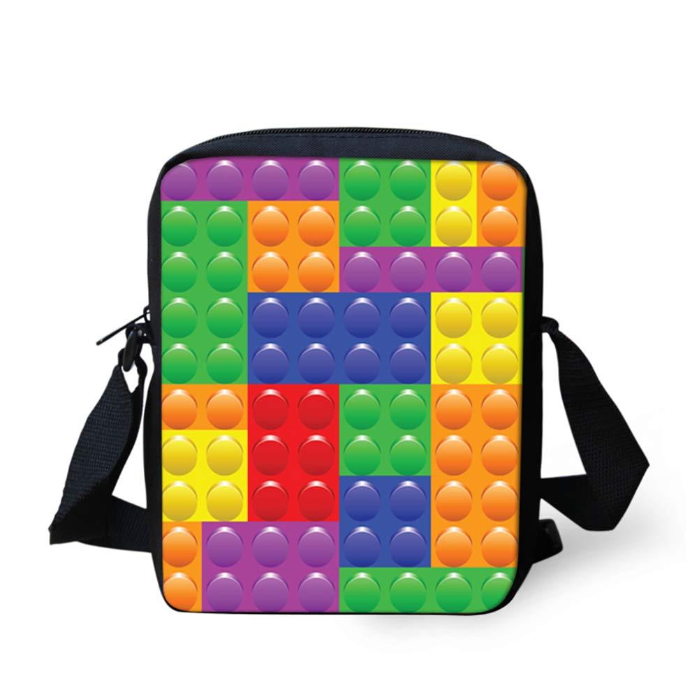 UNICEU Multicolor Tetris Pattern Durable Crossbody Handbag Portable Outdoor Travel Fashion Messenger Bags with Zipper