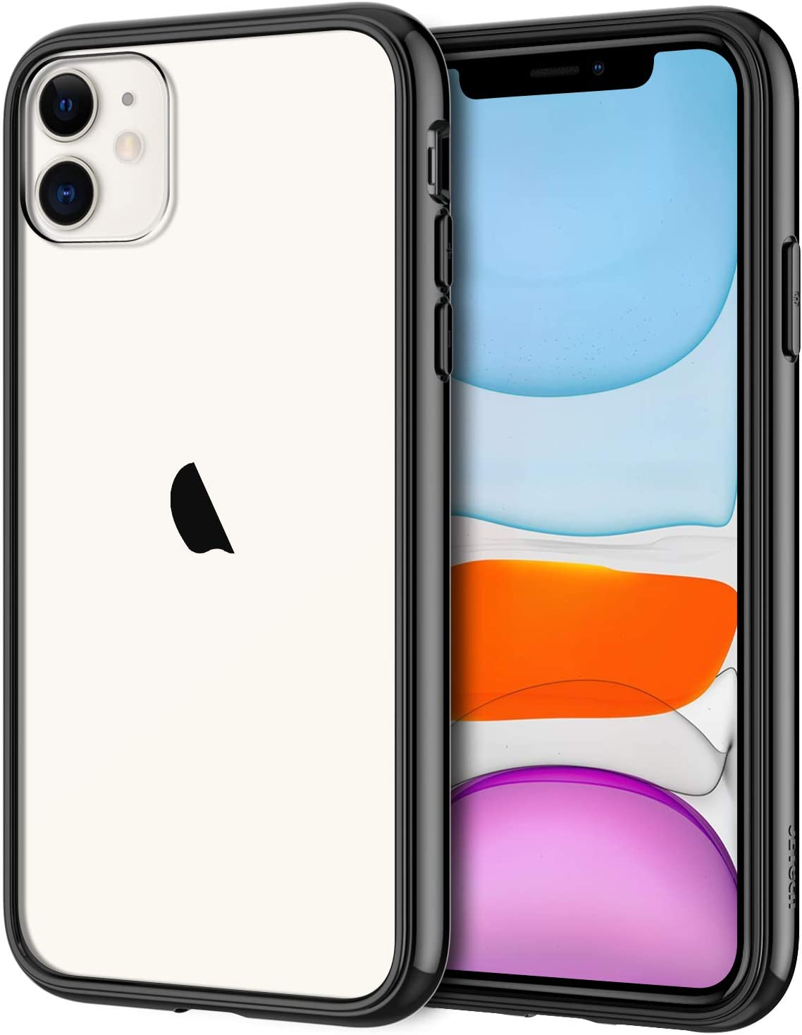 JETech Case for iPhone 11 (2019), 6.1-Inch, Shockproof Bumper Cover, Anti-Scratch Clear Back (Black)