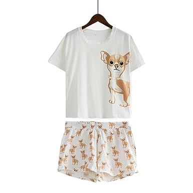 b6bee5e5095 Dorathywatm Cute Pajama Sets Cotton Dog Print Crop Top + Shorts 2 Pieces Set  Loose Top Elastic Waist Lounge Pajamas at Amazon Women s Clothing store
