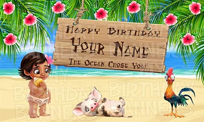 Amazon Com Baby Moana Birthday Party Banner Decoration Personalized