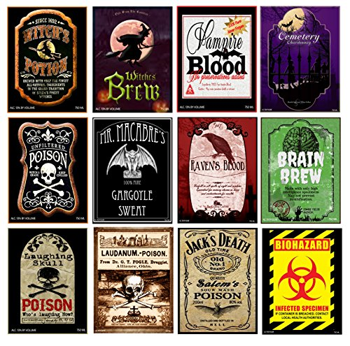 Set of 12 Halloween Wine Bottle Labels - 5 Inch X 4 Inch (Wine Bottles Halloween Decorations)
