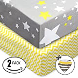 Jersey Cotton Fitted Crib Sheets, Soft and Protective, Baby Sheets Set 2 Pack. 100% Organic & Breathable Bedding with Unisex Chevron and Stars Custom Design, Fits Standard Mattress for Babies.