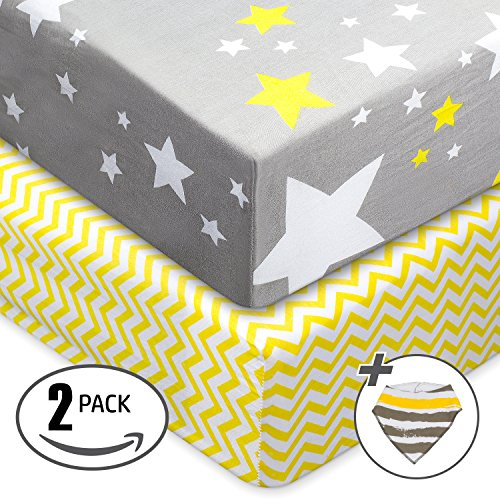 Gray Sheet Rubber (Jersey Cotton Fitted Crib Sheets, 2 Pack-100% Organic & Shrink-Resistant , Soft and Protective.Unisex Chevron & Stars-Grey & Yellow Design,Standard crib Mattress- No Rips or Holes with Use,Guaranteed!)