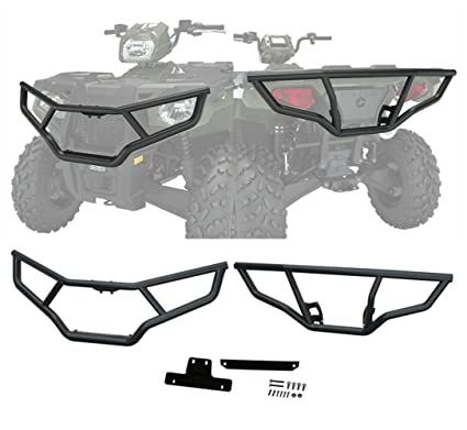 2PCS Front and Rear Brush Guard Bumper Fits 2014-2019 Polaris Sportsman 450 570 Black Steel Bumper Protector