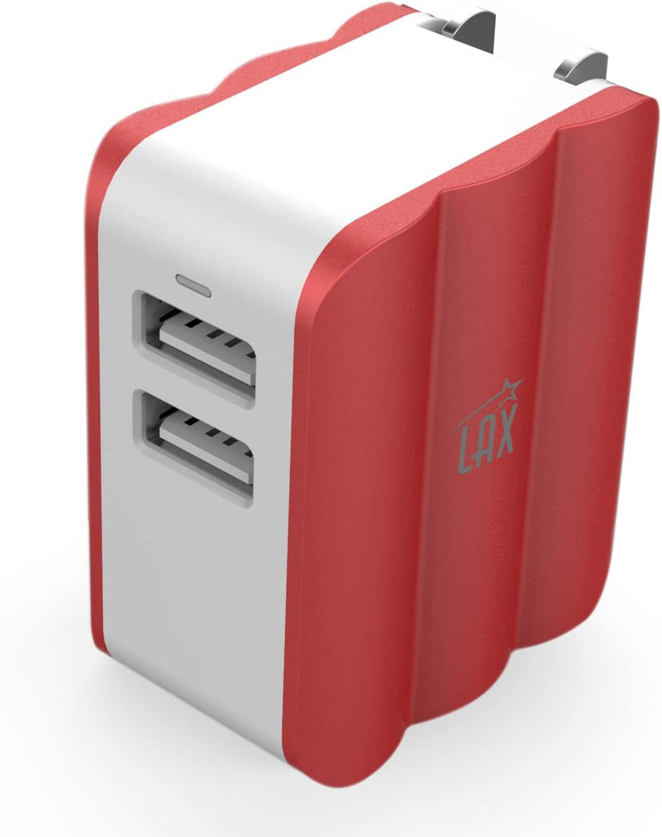 LAX Rapid 3.4A Dual USB Wall Charger Power Adapter for iPhone 6S 6S+, 6 6Plus, iPad Air/Mini, Samsung Galaxy S6, S6 Edge, Nexus, HTC M9 and More (Red)