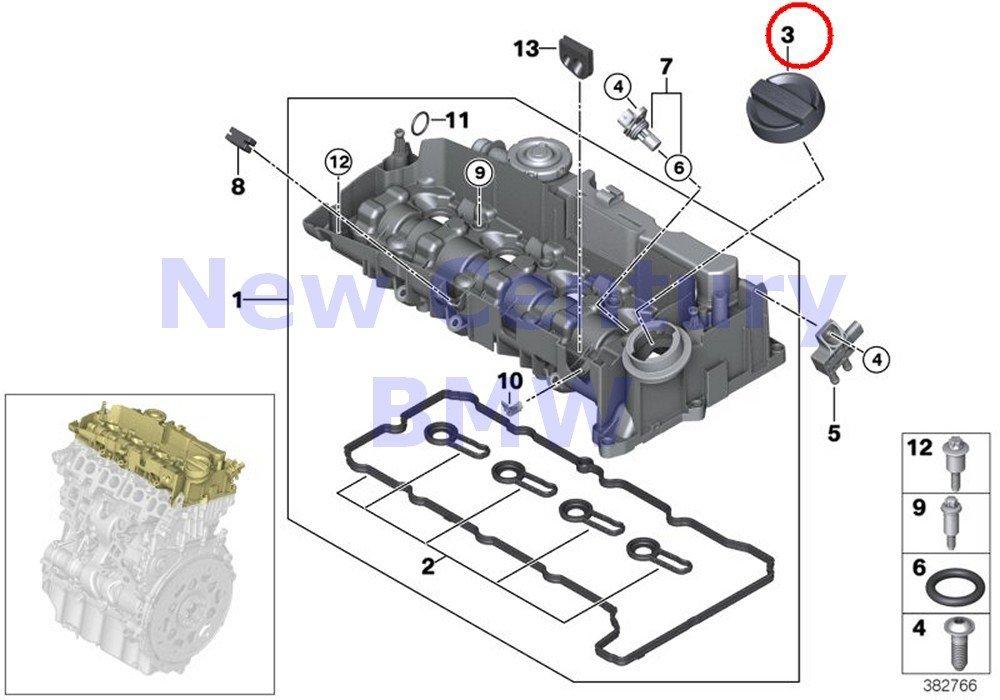 BMW Genuine Cylinder Head Housing Ventilation Cap For Oil Filler M3 M3 M3 M3 M3 M3 X5 40eX Cooper Cooper S Cooper SX Cooper X Cooper Cooper S Cooper Cooper S JCW Cooper Cooper S JCW X5 M X6 M