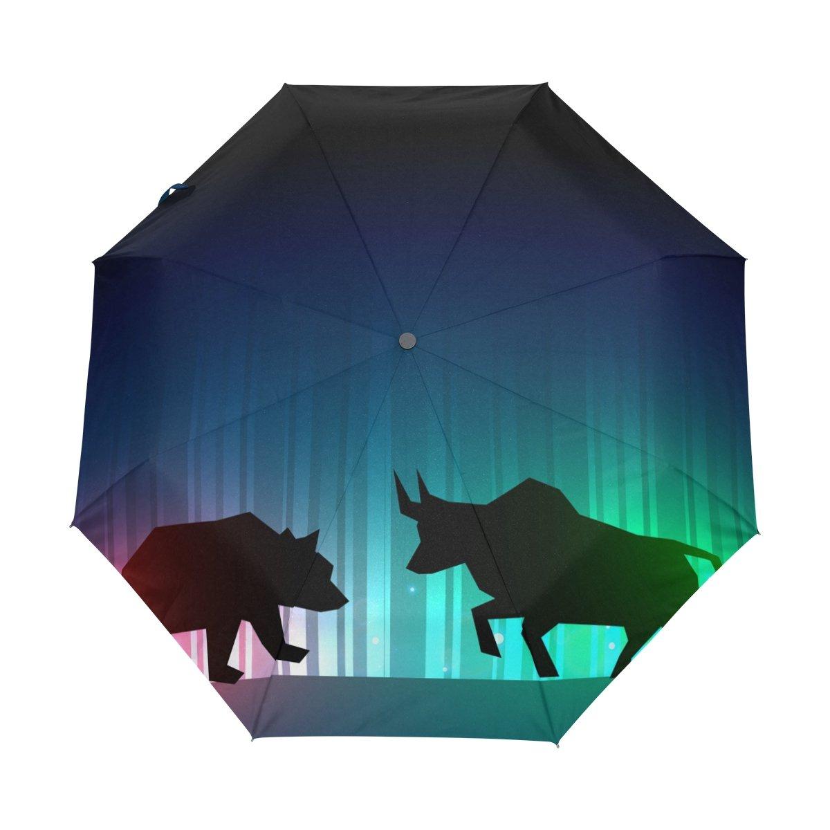Senya Saobao防風と防雨トラベル傘with自動開いて閉じFolding Bull and Bearポータブル折りたたみ式太陽雨傘 B07FDWLJ9C