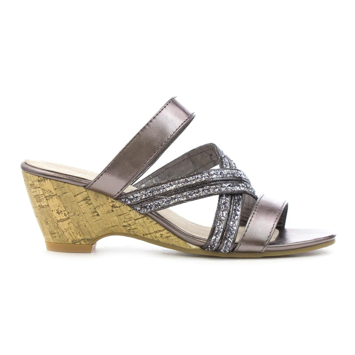 7fd8f4927d3 Lilley Womens Pewter Cross Strap Wedge Sandal  Amazon.co.uk  Shoes   Bags