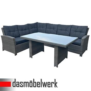 Amazon.De: Polyrattan Sitzgarnitur Esstisch Tisch Gartenmöbel